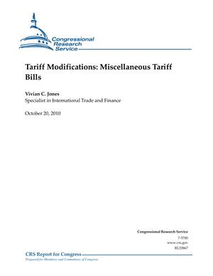 Tariff Modifications: Miscellaneous Tariff Bills