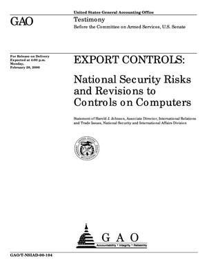 Primary view of object titled 'Export Controls: National Security Risks and Revisions To Controls on Computers'.