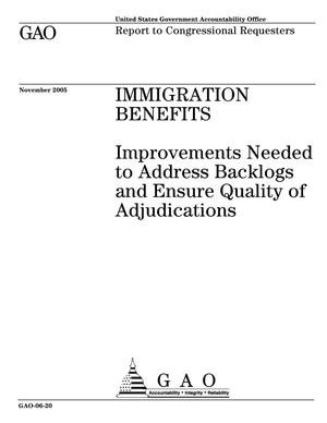 Primary view of object titled 'Immigration Benefits: Improvements Needed to Address Backlogs and Ensure Quality of Adjudications'.