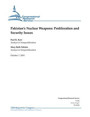 Pakistan's Nuclear Weapons: Proliferation and Security Issues