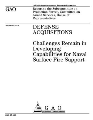 Primary view of object titled 'Defense Acquisitions: Challenges Remain in Developing Capabilities for Naval Surface Fire Support'.
