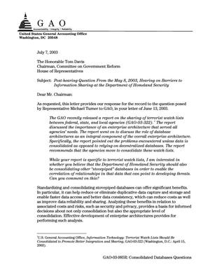 Primary view of object titled 'Post-Hearing Question From the May 8, 2003, Hearing on Barriers to Information Sharing at the Department of Homeland Security'.