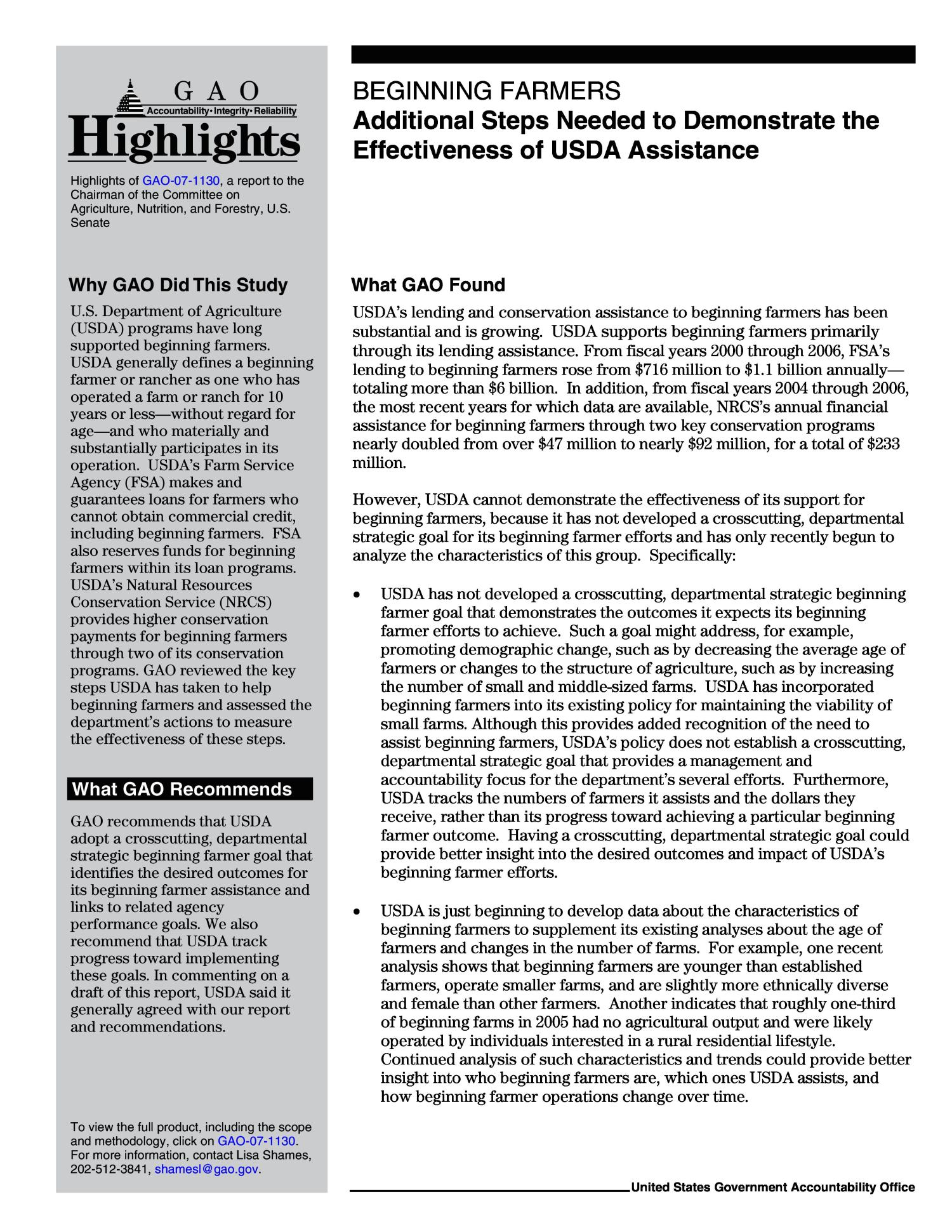 Beginning Farmers: Additional Steps Needed to Demonstrate the Effectiveness of USDA Assistance                                                                                                      [Sequence #]: 2 of 48
