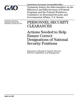 Primary view of object titled 'Personnel Security Clearances: Actions Needed to Help Ensure Correct Designations of National Security Positions'.