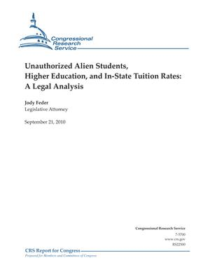Unauthorized Alien Students, Higher Education, and In-State Tuition Rates: A Legal Analysis