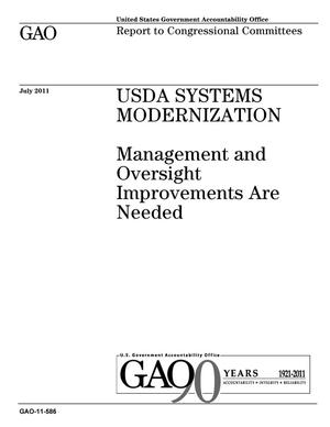 Primary view of object titled 'USDA Systems Modernization: Management and Oversight Improvements Are Needed'.