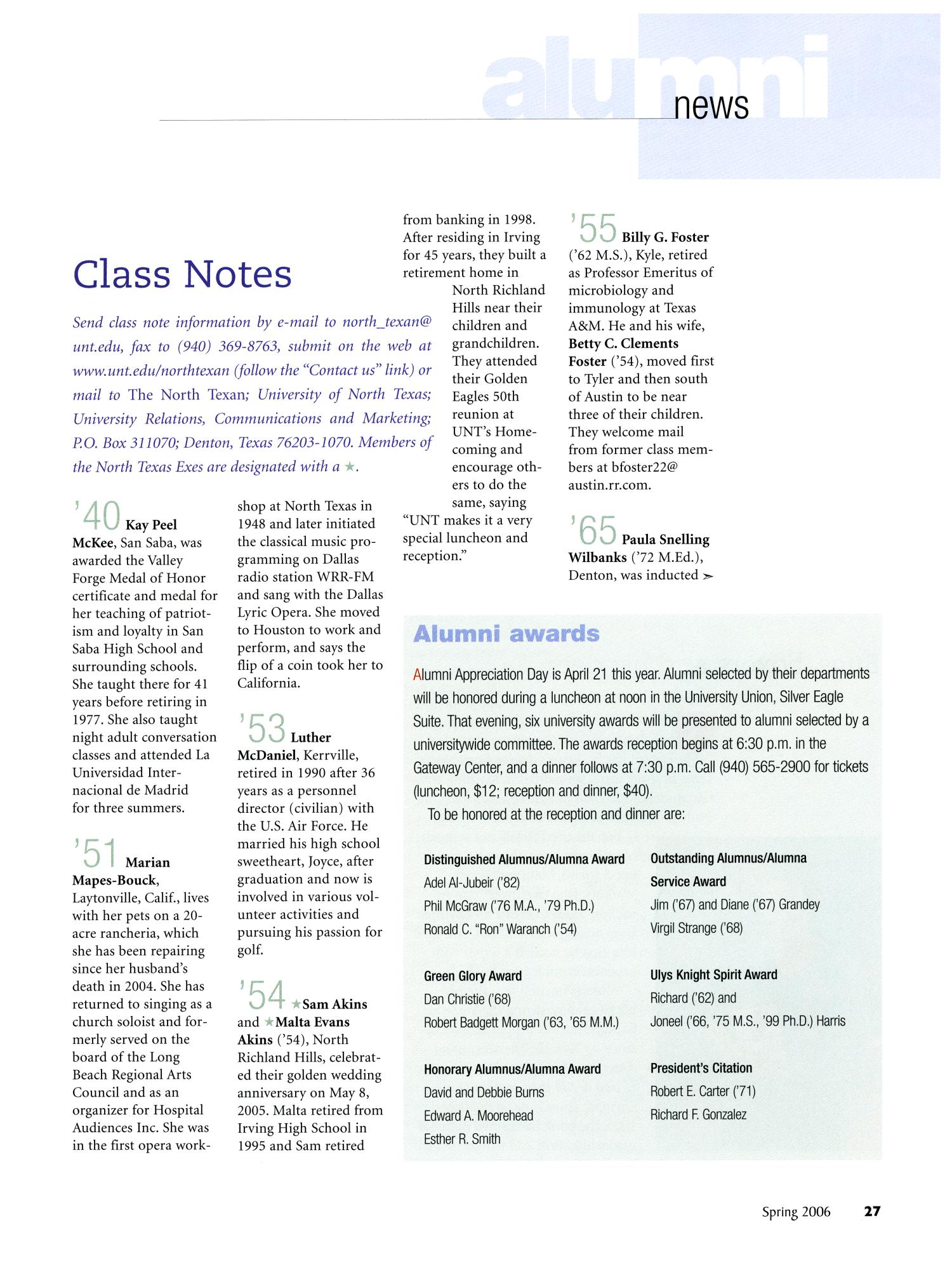 The North Texan, Volume 56, Number 1, Spring 2006                                                                                                      27