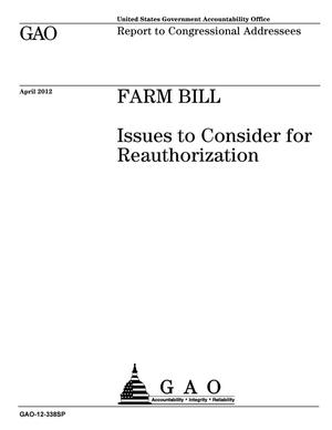 Primary view of object titled 'Farm Bill: Issues to Consider for Reauthorization'.