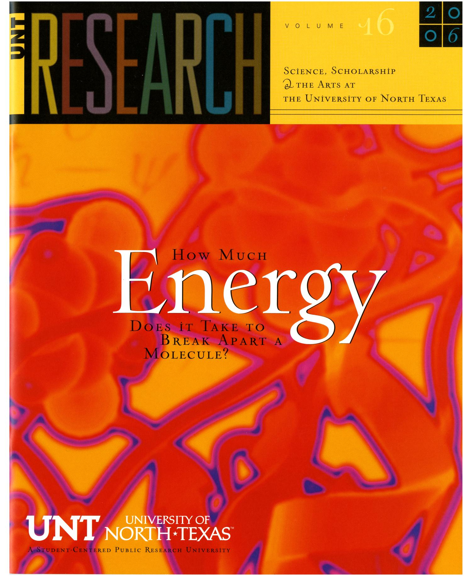 UNT Research, Volume 16, 2006                                                                                                      Front Cover