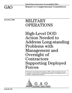 Primary view of object titled 'Military Operations: High-Level DOD Action Needed to Address Long-standing Problems with Management and Oversight of Contractors Supporting Deployed Forces'.