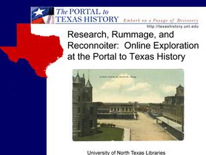 Primary view of object titled 'Research, Rummage, and Reconnoiter: Online Exploration at The Portal to Texas History'.