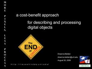 Primary view of object titled 'A Cost-Benefit Approach for Describing and Processing Digital Objects'.