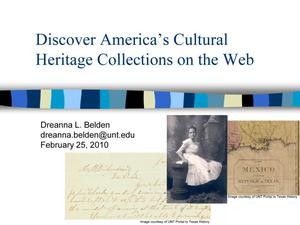Primary view of object titled 'Discover America's Cultural Heritage Collections on the Web'.