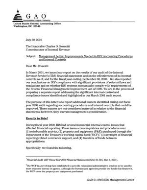 Primary view of object titled 'Management Letter: Improvements Needed in IRS' Accounting Procedures and Internal Controls'.