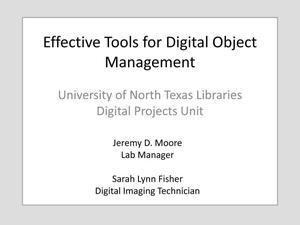 Primary view of object titled 'Effective Tools for Digital Object Management'.