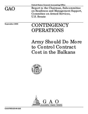 Primary view of object titled 'Contingency Operations: Army Should Do More to Control Contract Cost in the Balkans'.