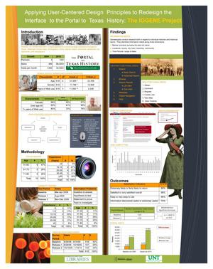 Primary view of object titled 'Applying User-Centered Design Principles to Redesign the Interface to The Portal to Texas History: The IOGENE Project [Poster]'.