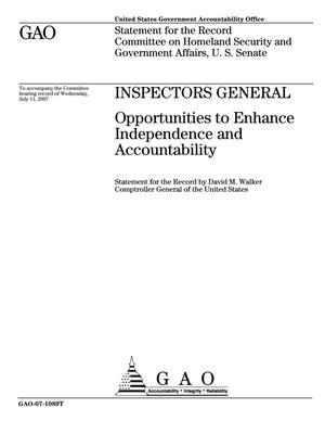 Primary view of object titled 'Inspectors General: Opportunities to Enhance Independence and Accountability'.