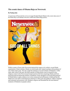 Primary view of object titled 'The Cosmic Dance of Obama-Raja on Newsweek'.