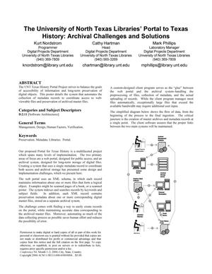 The University of North Texas Libraries' Portal to Texas History: Archival Challenges and Solutions