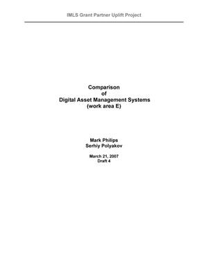 Primary view of object titled 'Comparison of Digital Asset Management Systems (work area E)'.