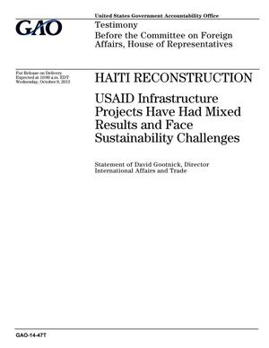 Primary view of object titled 'Haiti Reconstruction: USAID Infrastructure Projects Have Had Mixed Results and Face Sustainability Challenges'.
