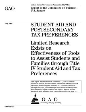 Primary view of object titled 'Student Aid And Postsecondary Tax Preferences: Limited Research Exists on Effectiveness of Tools to Assist Students and Families through Title IV Student Aid and Tax Preferences'.