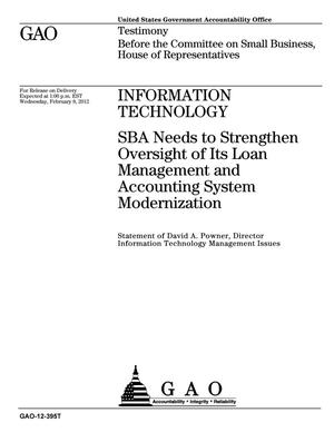 Primary view of object titled 'Information Technology: SBA Needs to Strengthen Oversight of Its Loan Management and Accounting System Modernization'.