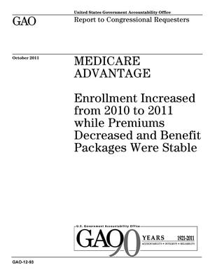 Primary view of object titled 'Medicare Advantage: Enrollment Increased from 2010 to 2011 while Premiums Decreased and Benefit Packages Were Stable'.