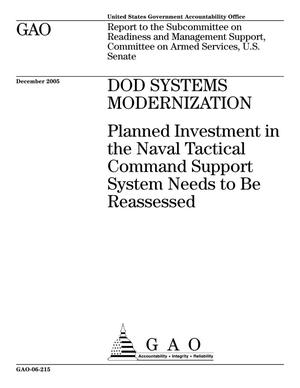Primary view of object titled 'DOD Systems Modernization: Planned Investment in the Naval Tactical Command Support System Needs to be Reassessed'.