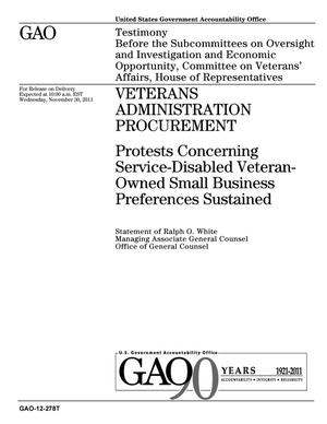 Primary view of object titled 'Veterans Administration Procurement: Protests Concerning Service-Disabled Veteran-Owned Small Business Preferences Sustained'.