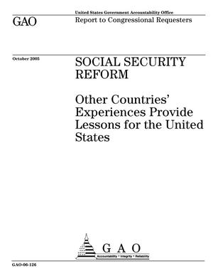 Primary view of object titled 'Social Security Reform: Other Countries' Experiences Provide Lessons for the United States'.