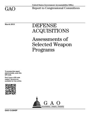 Primary view of object titled 'Defense Acquisitions: Assessments of Selected Weapon Programs'.