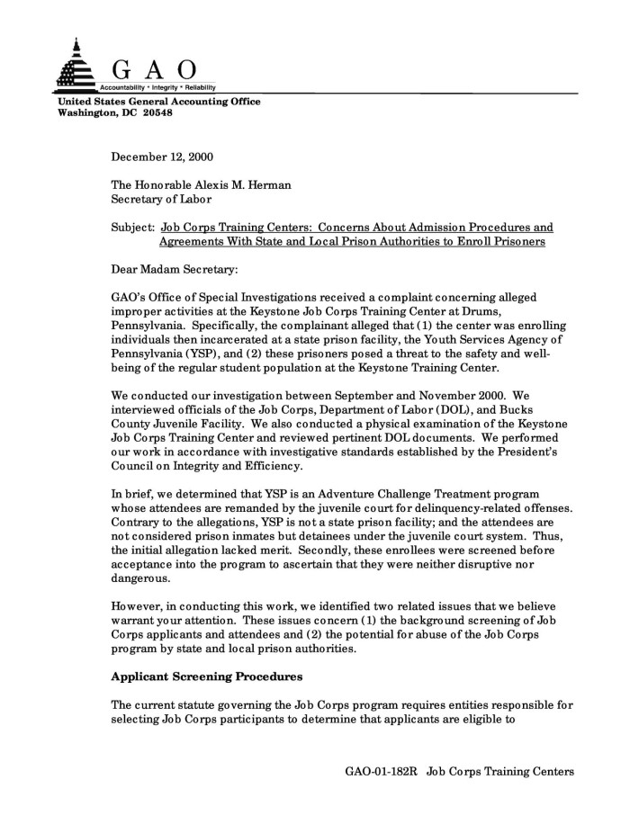 Job corps training centers concerns about admission procedures and job corps training centers concerns about admission procedures and agreements with state and local prison authorities to enroll prisoners platinumwayz