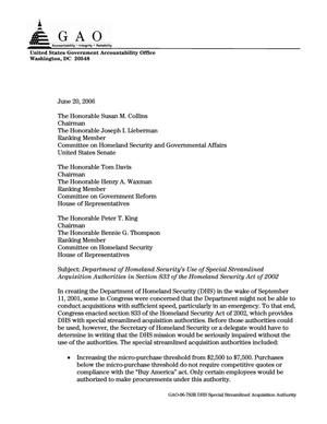 Primary view of object titled 'Department of Homeland Security's Use of Special Streamlined Acquisition Authorities in Section 833 of the Homeland Security Act of 2002'.