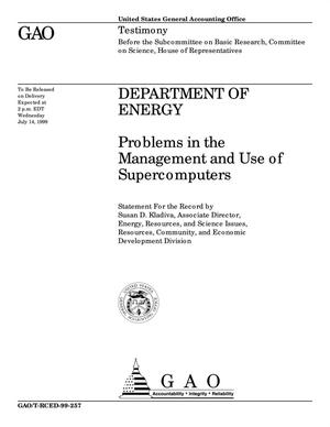 Primary view of object titled 'Department of Energy: Problems in the Management and Use of Supercomputers'.