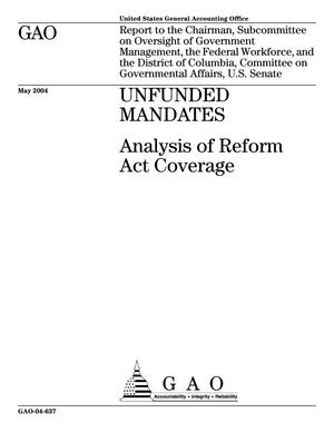 Primary view of object titled 'Unfunded Mandates: Analysis of Reform Act Coverage'.