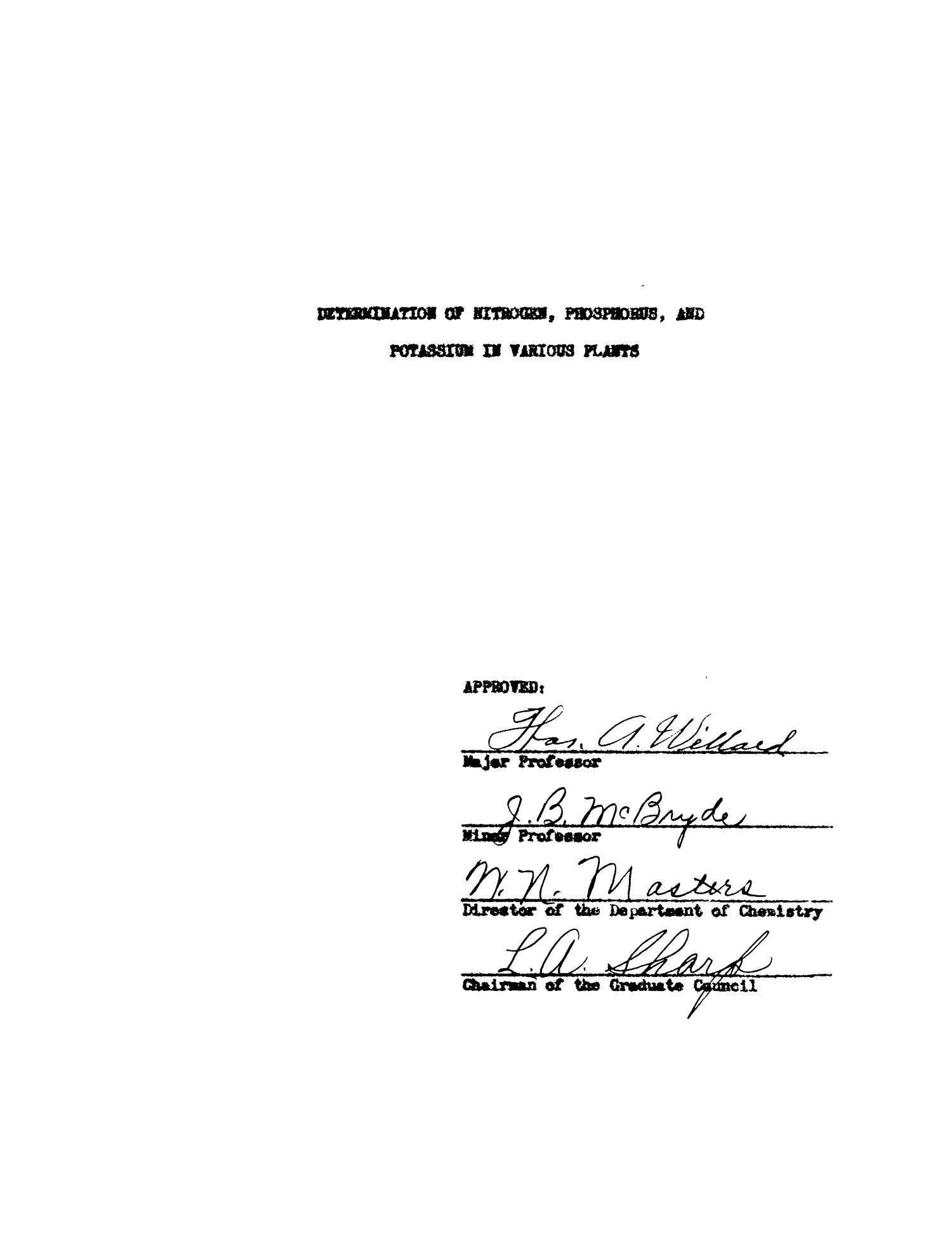 Determination of Nitrogen, Phosphorus, and Potassium in Various Plants                                                                                                      Title Page