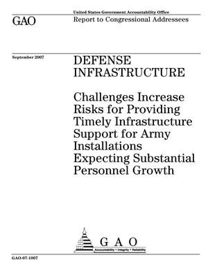 Primary view of object titled 'Defense Infrastructure: Challenges Increase Risks for Providing Timely Infrastructure Support for Army Installations Expecting Substantial Personnel Growth'.
