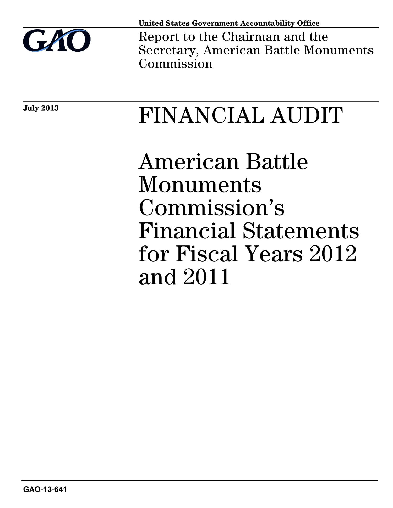 Financial Audit: American Battle Monuments Commission's Financial Statements for Fiscal Years 2012 and 2011                                                                                                      [Sequence #]: 1 of 49