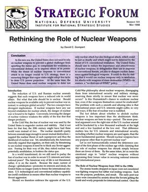 Primary view of object titled 'Rethinking the role of nuclear weapons.'.