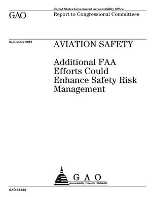 Primary view of object titled 'Aviation Safety: Additional FAA Efforts Could Enhance Safety Risk Management'.