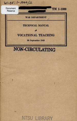 Primary view of object titled 'Vocational teaching.'.