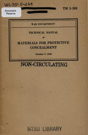 Primary view of object titled 'Materials for protective concealment'.