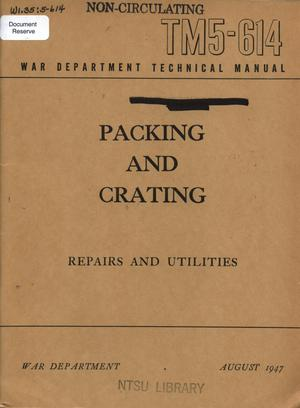 Primary view of object titled 'Packing and crating: repairs and utilities.'.