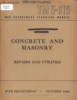 Primary view of object titled 'Concrete and masonry : repairs and utilities.'.