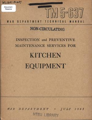 Primary view of object titled 'Inspection and preventive maintenance services for kitchen equipment.'.