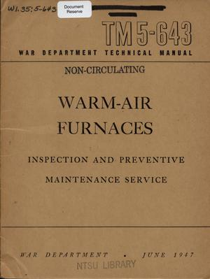 Primary view of object titled 'Warm-air furnaces : inspection and preventive maintenance service.'.