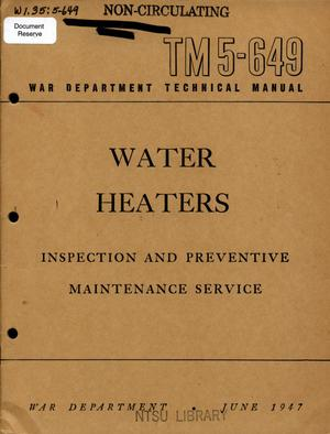 Primary view of object titled 'Water heaters : inspection and preventive maintenance service.'.