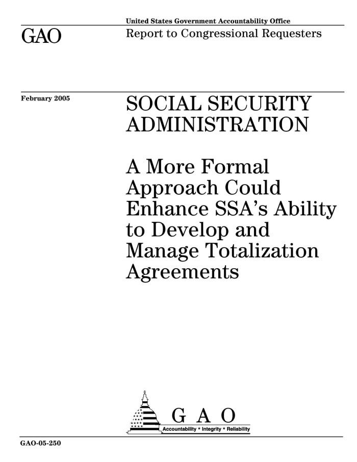Social Security Administration A More Formal Approach Could Enhance